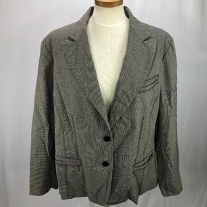 Anne Klein Womens Wool Blend Gray Check Blazer 22W
